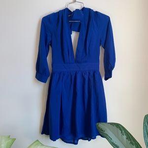Tobi Royal Blue Mini Dress w Tie Back sz S